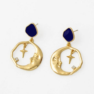 Alloy Star Moon Round Earrings